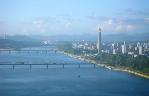 Looking north along the Taedong River toward the Juche Tower, Pyongyang