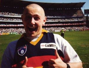 The author, exited pre-match before the 1997 AFL Preliminary Final, Adelaide Crows vs. Western Bulldogs.