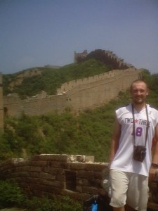 "The author, scaling the ""Wild Wall"" from Jinshanling to Simatai, July 2002."