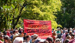 Protest banner at National Climate Action Day, November 2013.