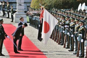 Tony Abbott with Japanese PM Shinzo Abe in front of honour guard, Tokyo, 7th April 2014