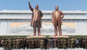 Kim Il Sung and Kim Jong Il monuments, Pyongyang.