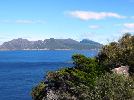 View from Cape Tourville Lighthouse, near Coles Bay.