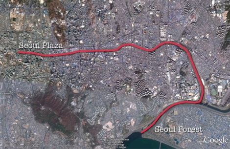 Cheonggyecheon route map (by Steve Miller)