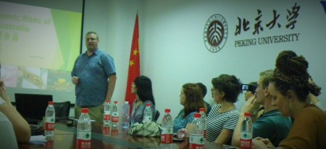 Paul Niklaus making a presentation at Peking University.