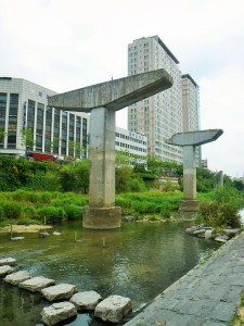 Old freeway pillars on the Cheonggyecheon