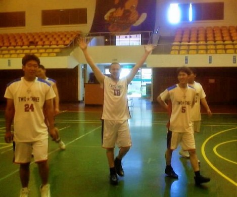 Ben ballin' in Gumi, South Korea, with the Two-Three basketball team from Keimyung University, 2002