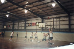 Ben jacking up a three for social basketball team The Rogue Tommies, Adelaide, 2000.