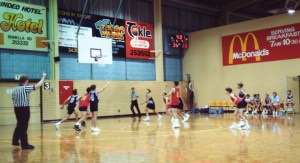 Ben at the free throw line, playing for SA Country Sharks at 1992 Australian Country Basketball Championships, Albury.