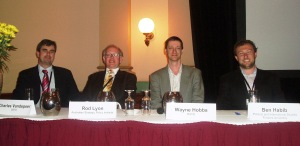 Me with fellow panelists at the 'Australia's Strategic Futures Conference' in Adelaide, 2009. I was sick with the flu that day, which oddly made me less self-conscious about making a mistake.