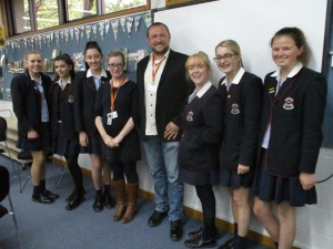 Ben Habib and Kumuda Simpson with students from Star of the Sea College