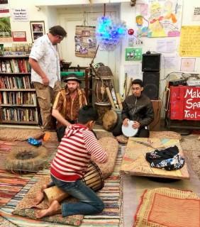 The drumming circle begins. Photo: Helen Bucknell.