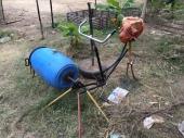 Bicycle-powered washing machine.