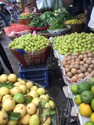 Fresh fruit and vegetables on sale.