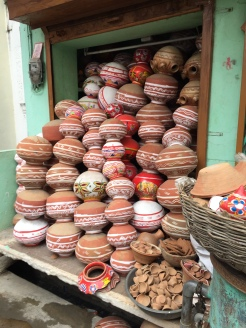 Clay pots on sale.
