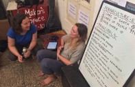 Sarah and Casey talking permaculture ethics.